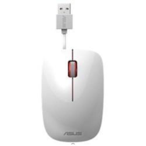 Mouse cu fir retractabil ASUS UT300, 1000 DPI, alb USB